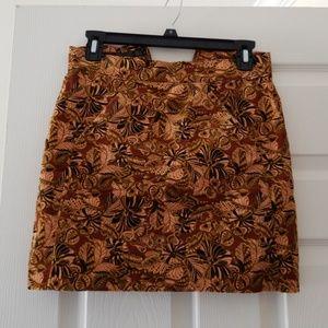 Zara velvet mini skirt